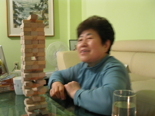 Jenga Mom smile